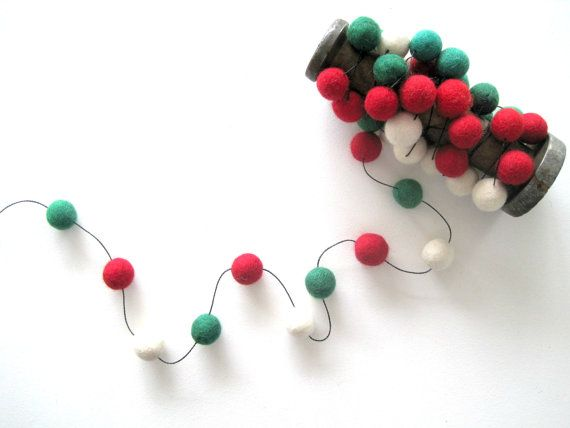 Christmas Felt Balls Traditional Red Green White