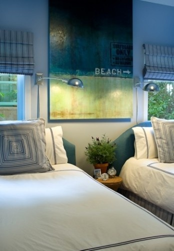 Love that painting..Beach House Design, Guest Room, Murdock Ally, Twin Room, Beach Painting, Twin Beds, Beach House Interiors, House Interiors Design, Mediterranean Bedrooms