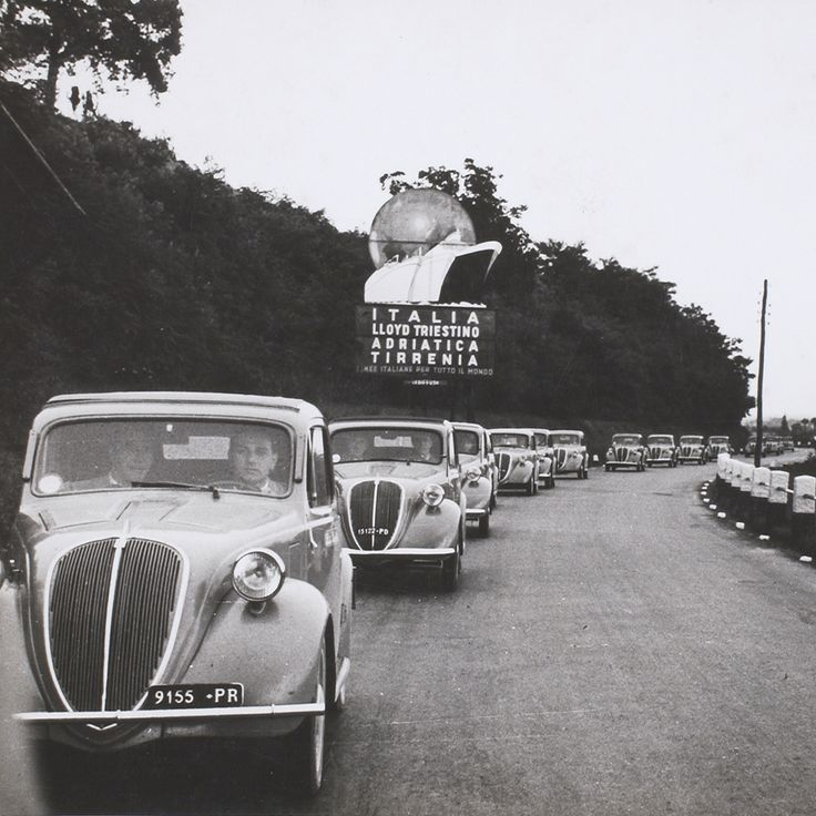 A fleet of Fiats drives through Italy advertising Barilla pasta in 1939. #history