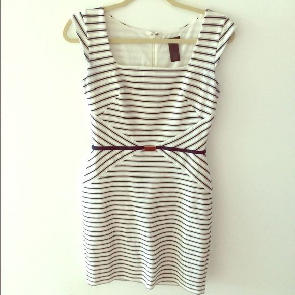 Ann Taylor Nautical Bodycon Dress Nautical strip bodycon dress with cap sleeves. Fits like a 2. Hidden rear zip. Faux belt at waist. Classic and polished. Worn twice. Comes from smoke and pet free home. Ann Taylor Dresses Mini