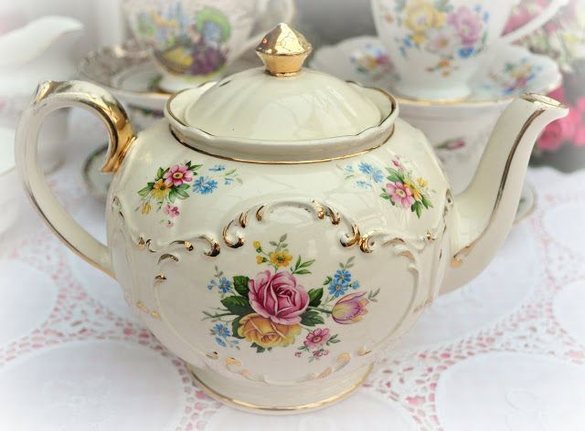 vintage teapots, milk jugs and sugar bowls
