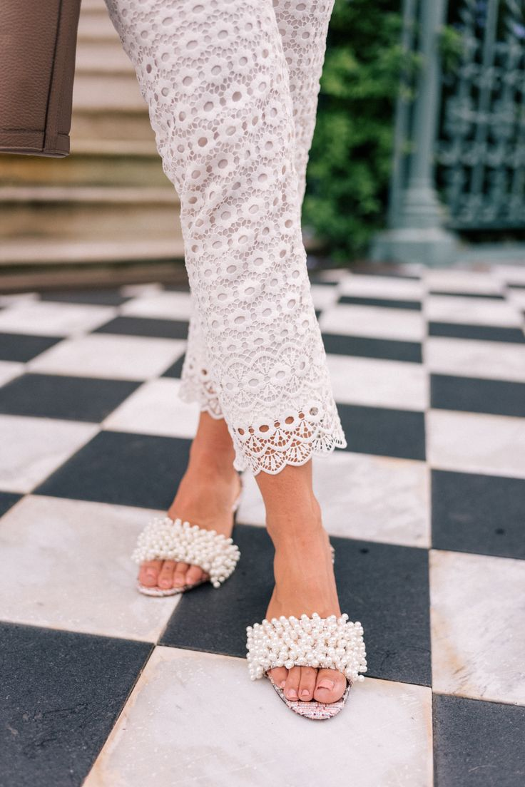 Julia Engel of Gal Meets Glam shares her favorite pearl embellished  footwear. This timeless and classic pearl embellished footwear can be worn  day to night!