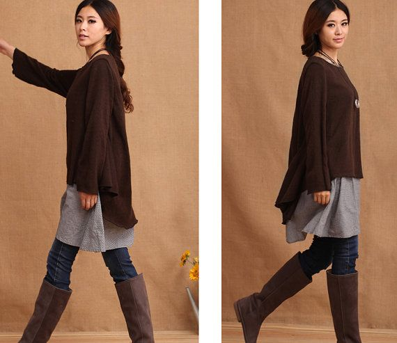 Tunic Shirt Women Dress Women Clothing Mid-length Top for Spring Sweater on Etsy, $100.00