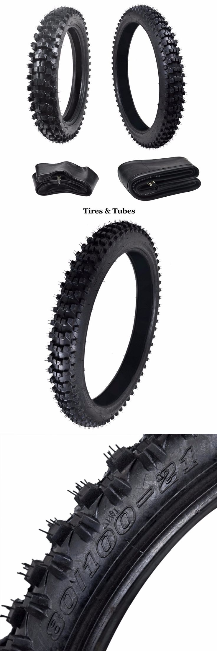MYMOTOR Complete Tire Set: Front Tire 80/100-21 With Inner Tube + Rear 110/90-18 For Dirt Pit Bikes | Off Road Motorcycle Tires