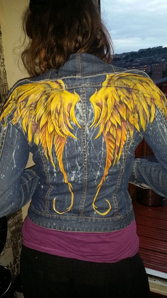 Check out this item in my Etsy shop https://www.etsy.com/uk/listing/470144110/phoenix-wings-womans-denim-jacket-hand