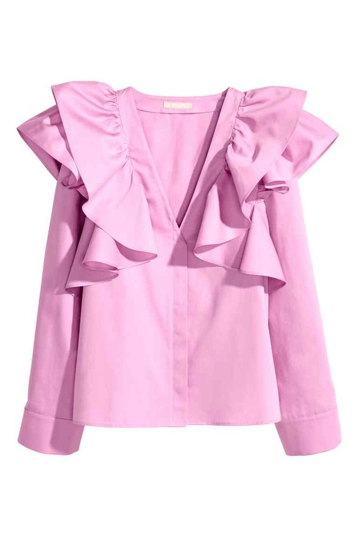 Ruffled blouse: Straight blouse in a cotton weave with large ruffles at the top, a V-neck, concealed buttons down the front and long, wide sleeves with pleats and a button at the cuffs.