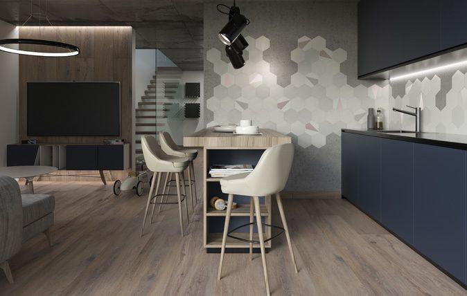 Esagon Mono to mix pudrowych kolorów, które stanowią tegoroczny hit idealnie pasują do nowoczesnych, op-artowych wnętrz inspirowanych latami 60. Delikatna kolorystyka świetnie łączy się zarówno z białą płytką, jak i elementami drewnianymi, czy cementowymi. Esagon Linum to z kolei inspiracja płótnem.