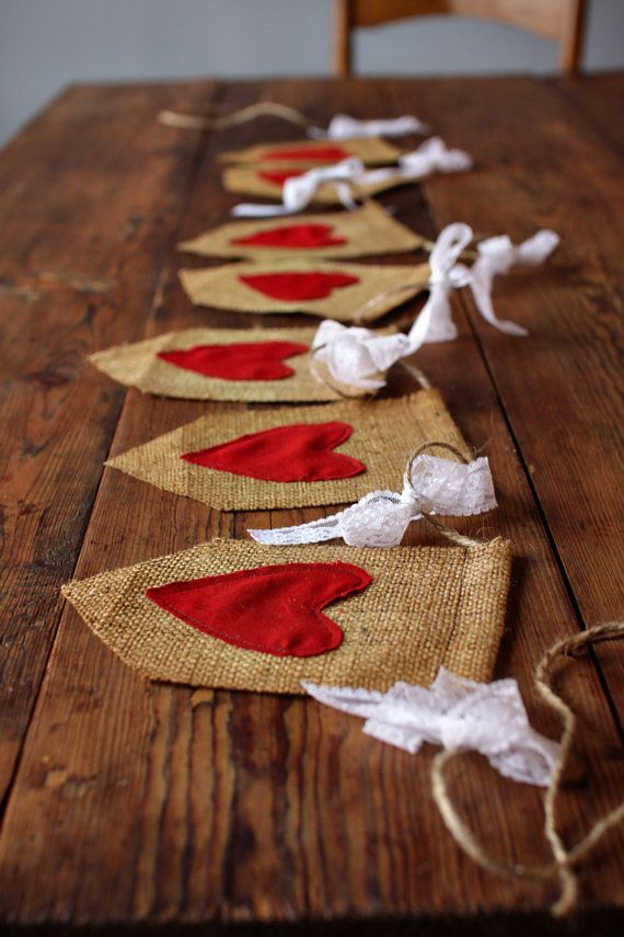 Burlap & Lace Heart Banner by LittleMaisie on Etsy, $35.00