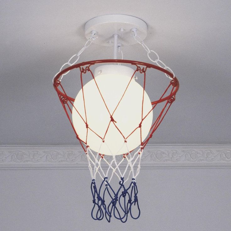 Had this light fixture in my room growing up.  Ball was red/white/blue and net was plain white though …
