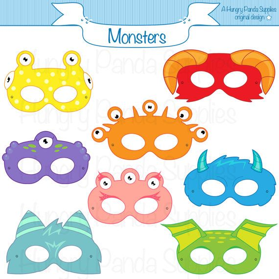 Monster Printable Masks halloween masks by HungryPandaSupplies
