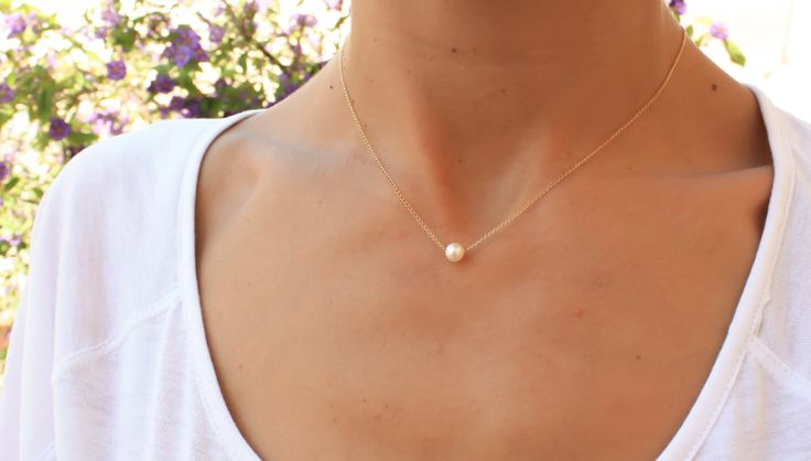 Single pearl necklace, white pearl necklace, flowting pearl gold necklace, bridsmaid gift, freshwater pearl necklace, june birthstone by miniLALI on Etsy https://www.etsy.com/listing/210645869/single-pearl-necklace-white-pearl