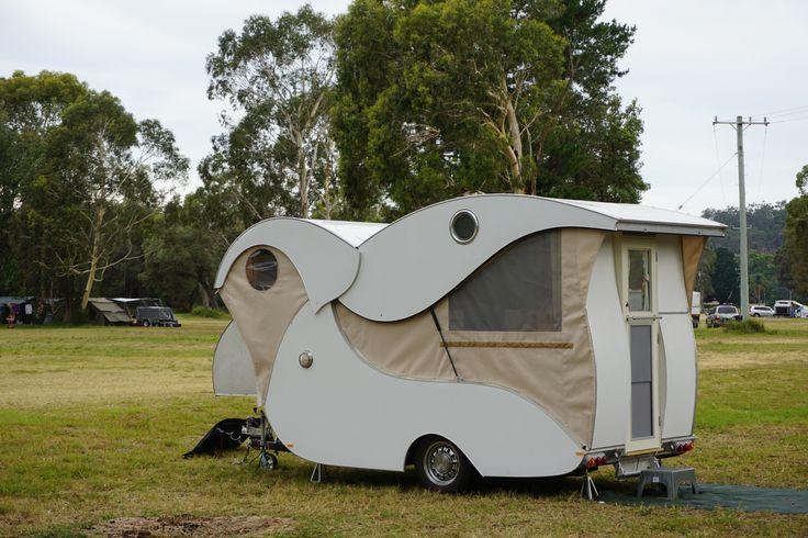 Homemade teardrop camper trailer (design inspired by Kampmaster / Wild Goose teardrop trailer) at Boyd Town, NSW