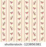 Striped retro rose seamless in village style - stock vector