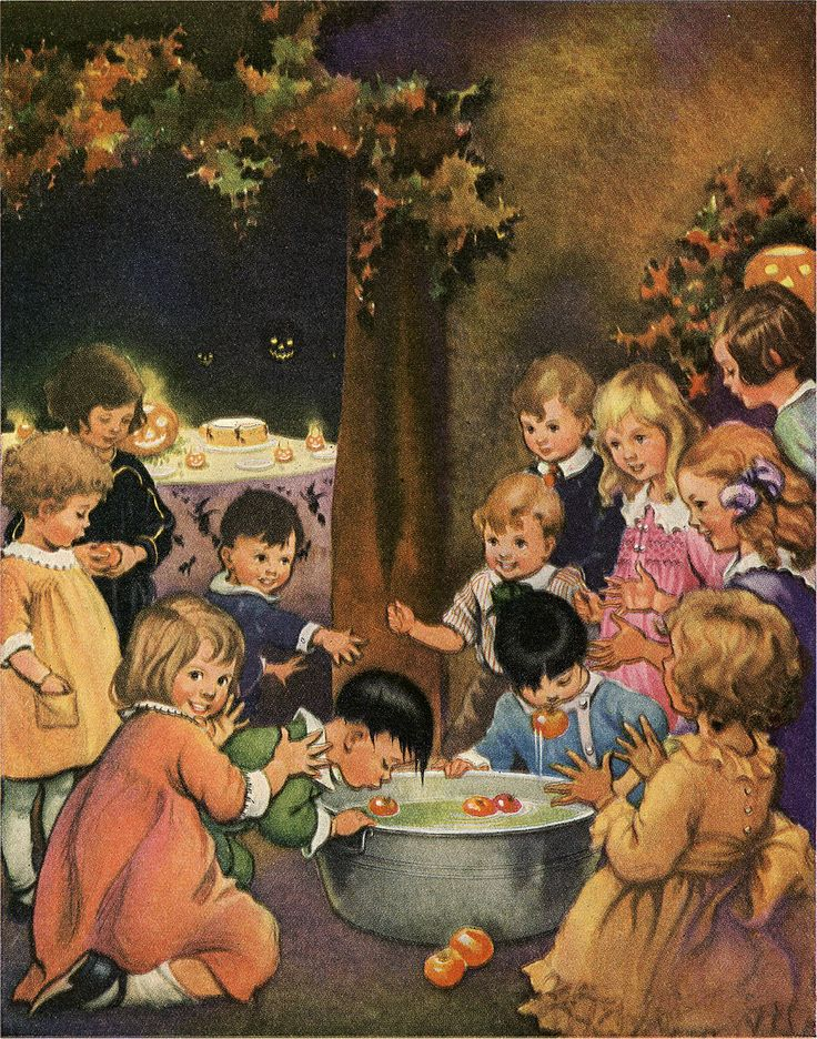 Today I'm sharing this Old Halloween Kids Bobbing for Apples Graphic! The cute children in this colorful image are gathered around a tub while a boy bobs for red apples. In the background is a table of goodies set for Halloween fun with scary black Jack-o-Lanterns hanging above. Fall leaves are hung on the walls. So...Read More »