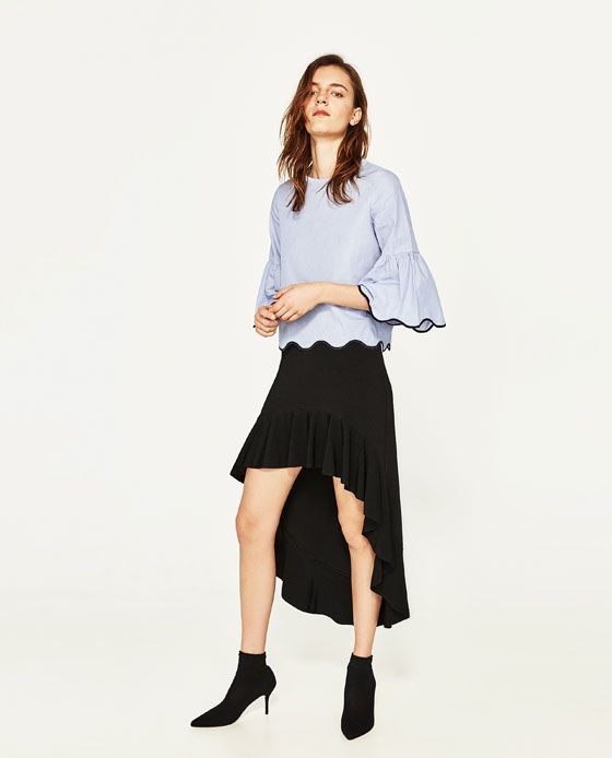 ZARA - WOMAN - STRIPED TOP WITH SCALLOPED HEM