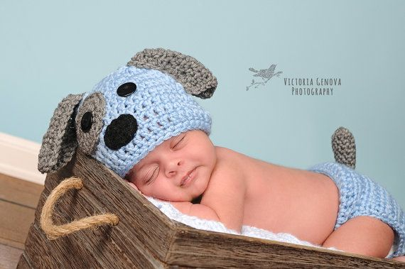 Crochet Newborn baby boy Puppy Hat and Diaper by Stephyscrochet