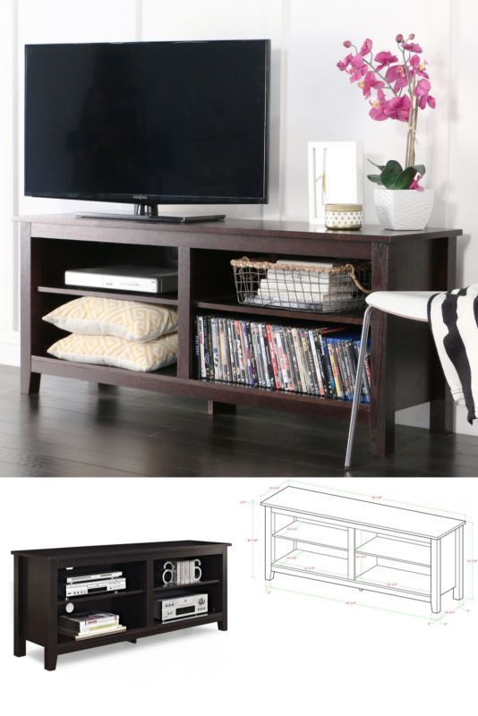 Wood Tv Stand Media Console Entertainment Center Furniture Storage Espresso #WEFurniture#TV,#Stand,#Gaming,#Entertainment,#Media,#Furniture,#Home,#Theater,#Storage