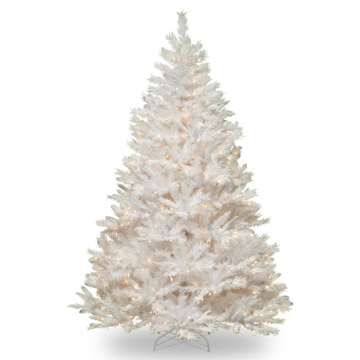 7 ft. Winchester White Pine Hinged Christmas Tree with Silver Glitter - Clear - WCHW7-300-70
