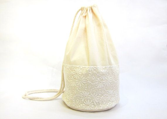 Handmade drawstring backpack/ white lace decor by fabricAsians, $16.00