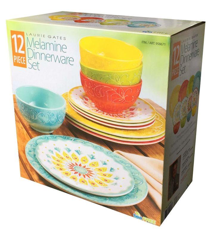 Amazon.com | Laurie Gates - 12 Piece Melamine Dinnerware Set (Yellow & Orange & Green & Blue): Dinnerware Sets