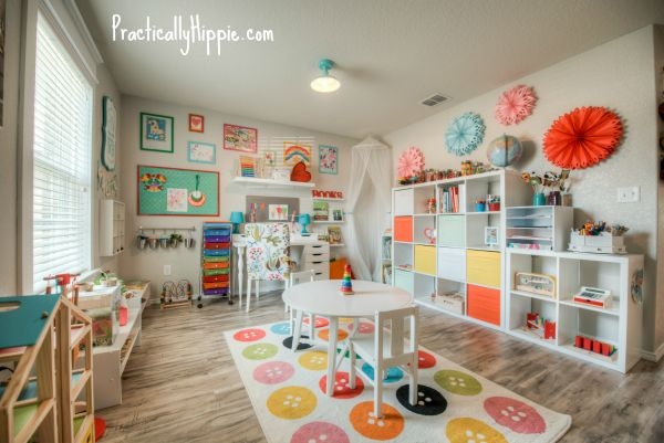 When we moved into our new house a few months ago, I was excited to have a dedicated space for my kiddos that was separate from the rest of our home which has a very open floorpan. This flex space is intended to be an office or study and is right off of the front door when you walk inside. It's not…