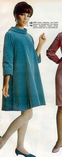 Velveteen Tent dress    Woman's Day Magazine, Oct 1966