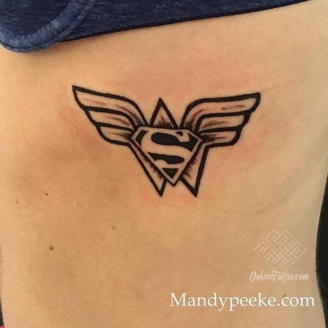 A Wonder Woman , Superman combo done by Mandy @mandypeeke #dakinitattoo #mandypeeke #tattoo #tattooart #inkedphilly #superherotattoo