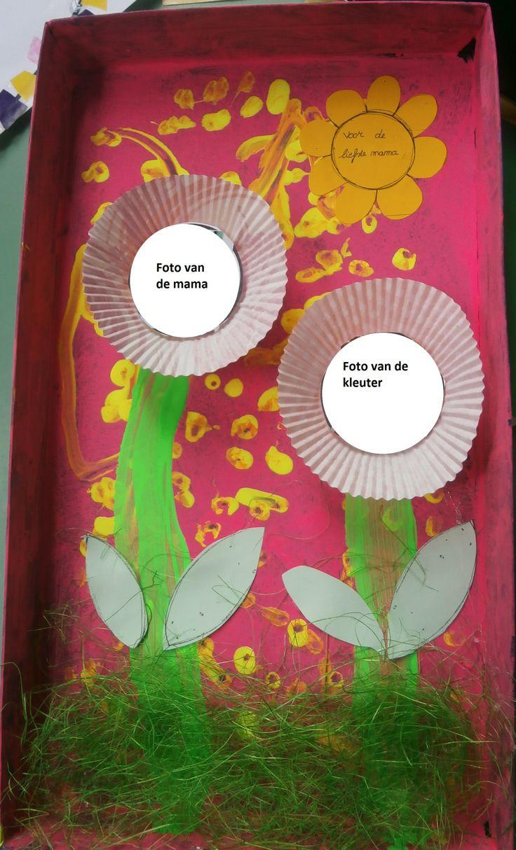 1. Stempelen met een spons van een schoendoos deksel. 2. Met een wattenstaafje stempelen van stippen op de gekleurde achtergrond. 3. De kleuter schildert een bloemsteel. 4. Kleven van de bloemblaadjes + gras+ cupcakes (papier) + foto van de mama en kleuter.