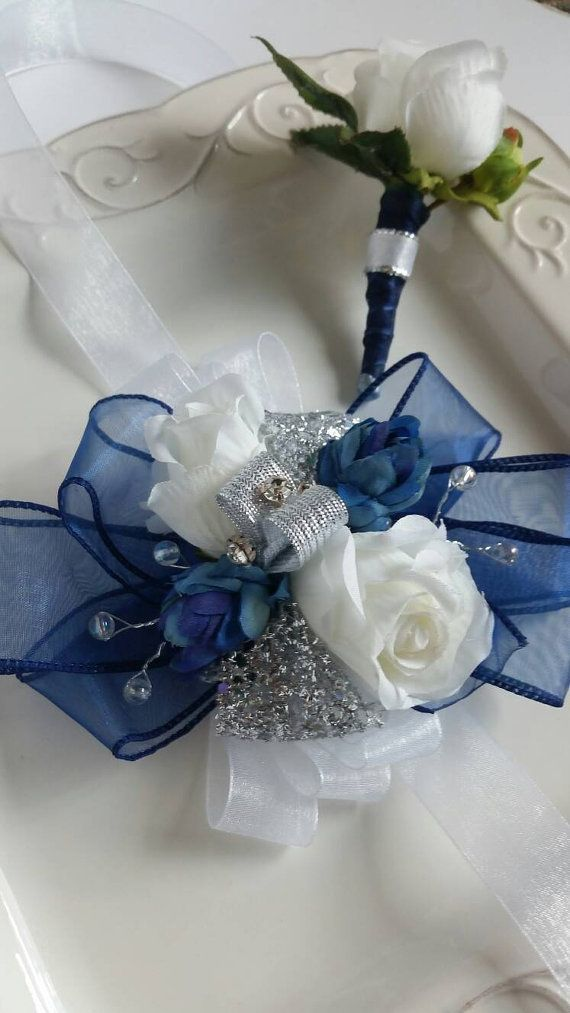 Navy Silver and White Wrist Corsage and by SterlingCottageShop