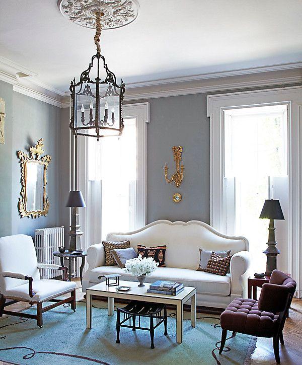 Dark Gray Living Room With Black White