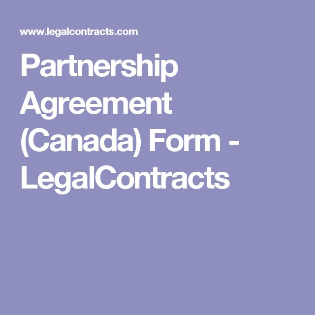 Partnership Agreement (Canada) Form - LegalContracts
