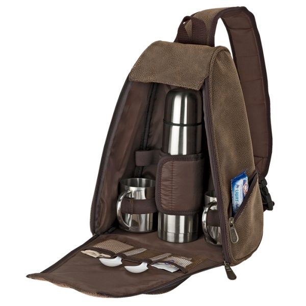 Out of Africa Sling Bag Coffee Set Rugged Exterior 500ml Steel Flask 2 x 200ml Steel Cups Interior Mesh Pockets Front Zippered Pocket 2 Side Zippered Pockets Padded Shoulder Sling Strap