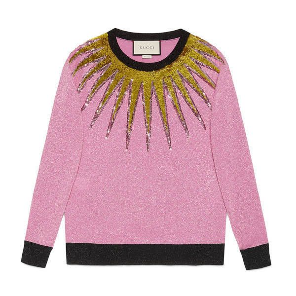 Gucci Embroidered Lurex Knit Top ($1,800) ❤ liked on Polyvore featuring tops, fuchsia, pink top, gucci top, sequin embellished top, wet look top and lurex top