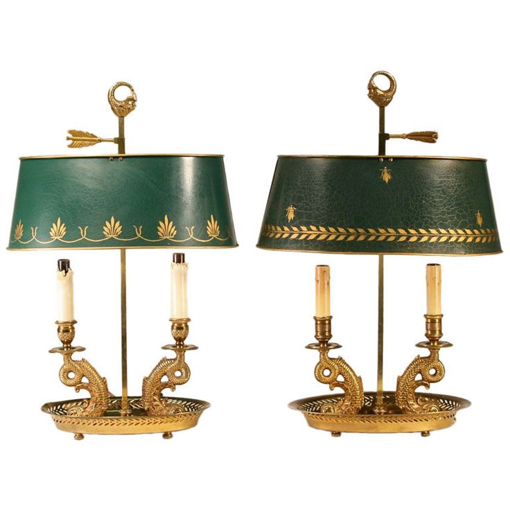 Faux Pair Of French Antique Bouillotte Lamps.