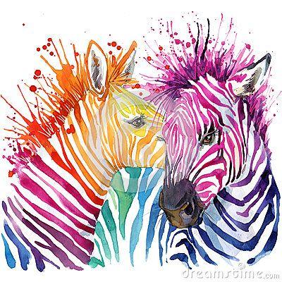 Funny zebra  T-shirt graphics, rainbow zebra illustration