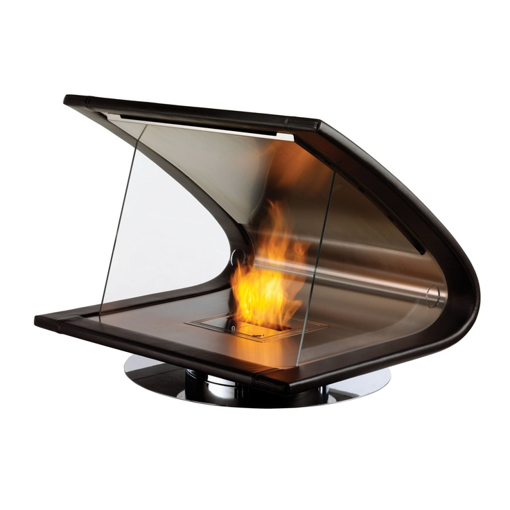Zeta leather, stainless steel and glass fireplace.: Fire Place, Idea, Zeta Fireplace, Fireplaces, Ecosmart Fire, House, Products, Design