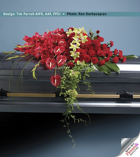 On the casket spray, smilax foliage provides a light and elevant veil that emphasizes the spread and drape of gladiolus, anthuriums, roses, gerberas, dahlias and carnations.   Design by Tim Farrell AIFD.  Photography by Ron Derhacopian.  fresh flowers  #sympathy designs   #sympathy flowers.