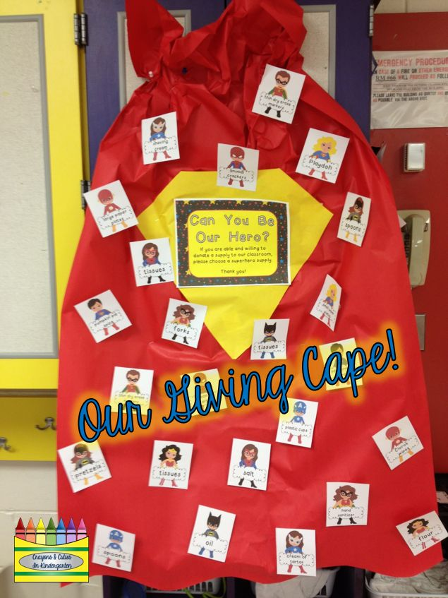 Meet the Teacher Night! Giving Cape (Superhero themed 'giving tree') for classroom donations!