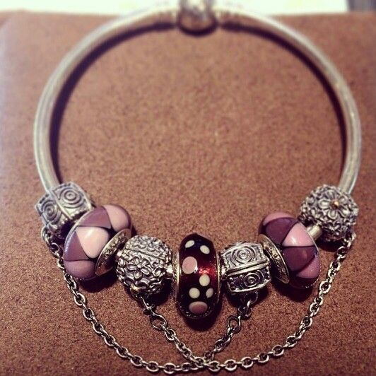 PANDORA Bracelet with Safety Chains and Purple Murano.