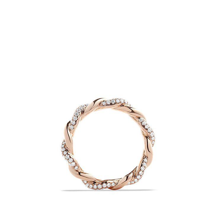 Wisteria twist ring with 0.48ct Pavé diamonds in 18kt rose gold  ~ David Yurman