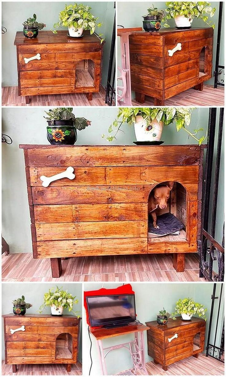 Woodenpalletdoghouseidea dog beds pinterest pallet dog