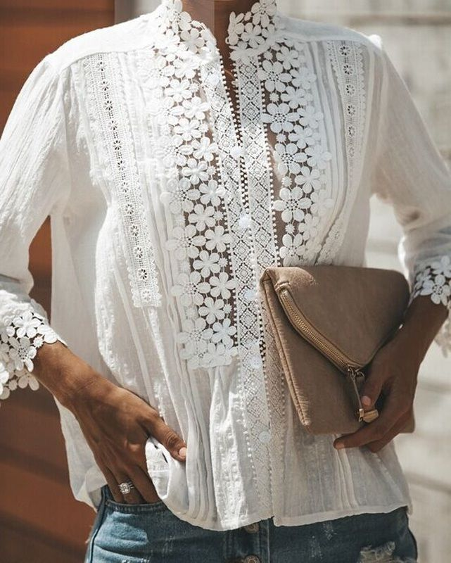 1e17f2ee168 CLICK on the photo TO SHOP this beautiful white sexy blouse :) White cotton  lace top women floral blouse spring summer casual shirt embroidery office  work ...