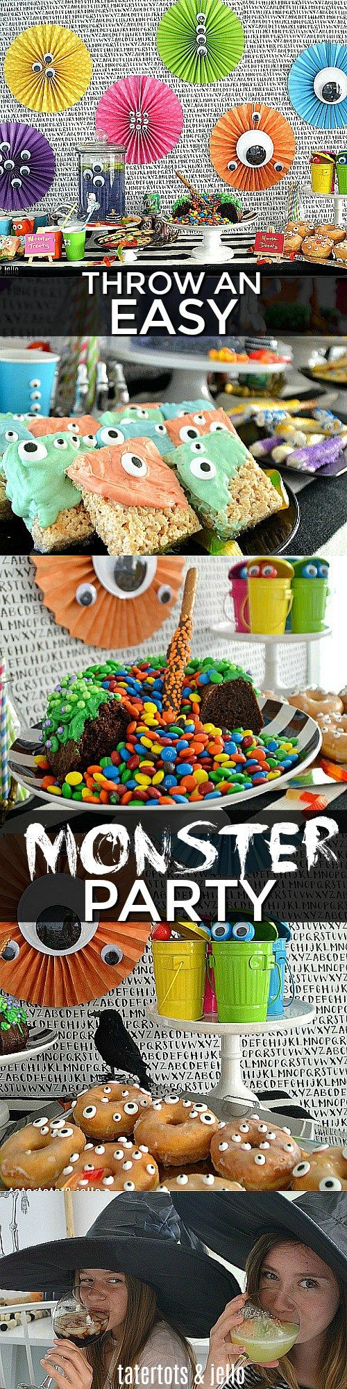 Easy ways to throw a monster party with bubbling witch cake and a FUN candy surprise inside! #craveyard #ad @7UP