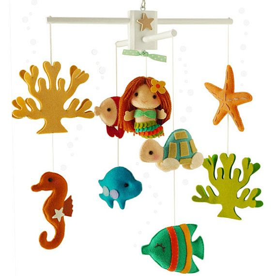 Musical Baby Mobile with Mermaid and Under the Sea Fish, Ocean Theme, Unique Crib Nursery Hanging Mobile for Modern Nautical Nursery Decor
