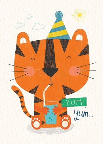 Damien & Lisa Barlow  Illustration - Damien, Lisa, Damien & Lisa, Barlow, digital, photoshop, board book, trade, mass market, greetings cards, gift wrap, stationary, fiction, picture book, surface pattern design, colourful, textured, illustrator, sweet, cute, young, fun, animals, cats, tigers, party, hats, celebration,clouds, sun, drinking, straw, cup, happy, tasty, delicious, yum, typography,
