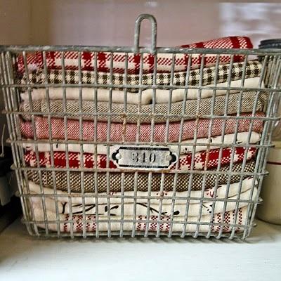 Vintage Locker Basket For Kitchen Towel Storage