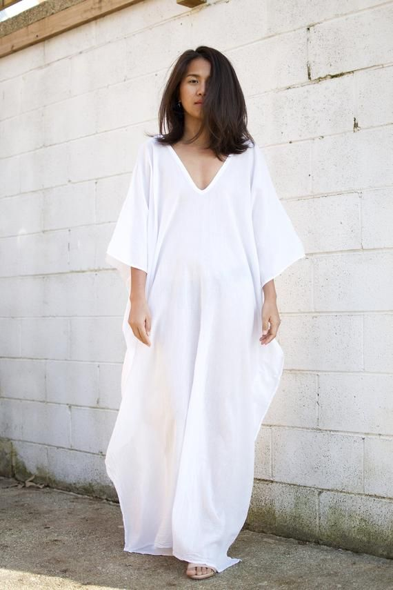 240747f83d O. COTTON GAUZE kaftan, White Caftan,Kaftan see through,Long Beach dress,Beach  party dress,Pool party dress, Sheer dresses, See though dress in 2019 | Wear  ...