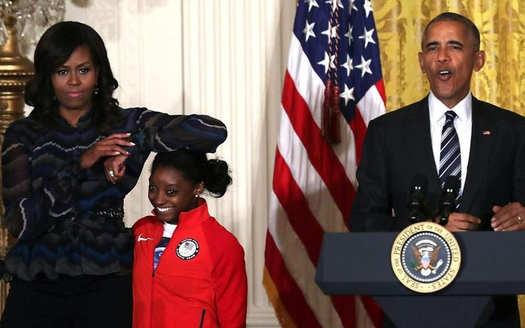 29sept2016---2016 US olympic team visit to the white house, obamas with gymnast simone biles