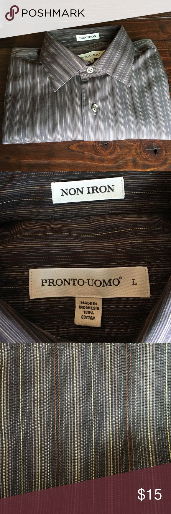 Pronto Uomo Brown stripe Non iron dress shirt Pronto Uomo Brown stripe Non iron long sleeve dress shirt. This brown striped shirt with a modern fit features a non-iron treatment that defies wrinkles for a crisp, flawless look all day.  Non-iron 100% cotton Spread collar Non-breakable buttons Modern Fit Machine Washable, clean smoke/animal free home pronto uomo Shirts Dress Shirts