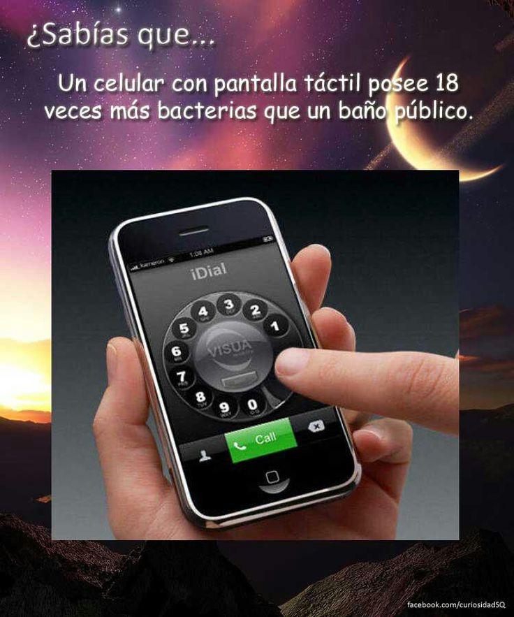 ¿Sabias Que? un celular de pantalla táctil tiene mas bacterias que un baño publico